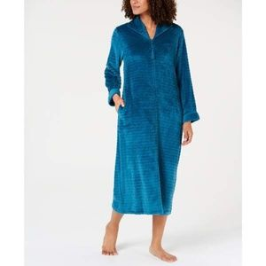 Miss Elaine Textured Fleece Zip Robe LARGE Teal